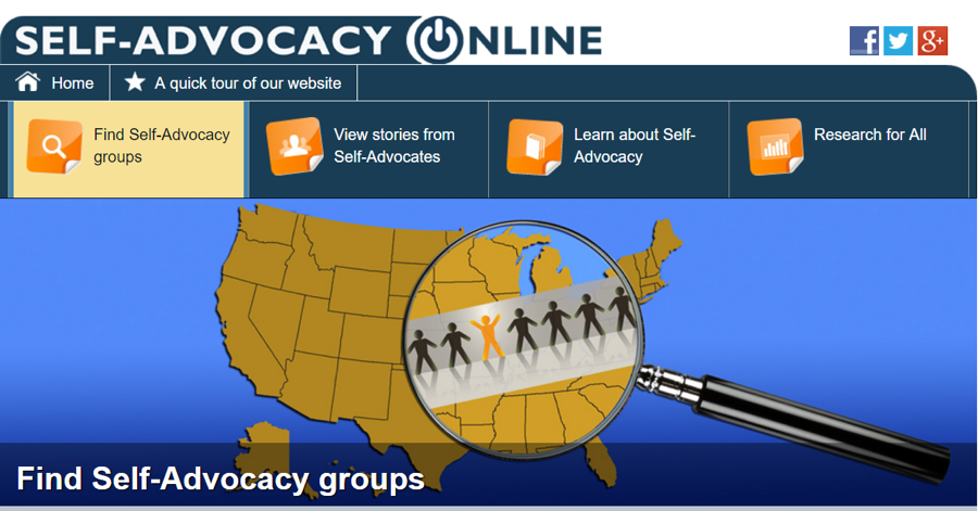 A screenshot of the homepage of Self-Advocacy Online with four dropdown menus and a banner