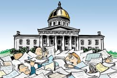 Graphic of a Capitol Building surrounded by lobbyists holding documents